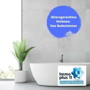 """Badezimmer mit Text """"Altergerechtes Wohnen"""" das Badezimmer"""