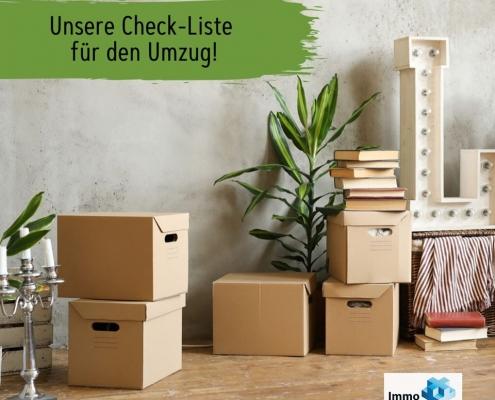 """viele Umzugskartons mit Text """"Unsere Checkliste für den Umzug"""""""