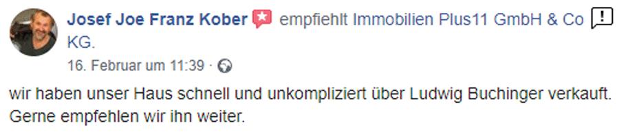 Eine Empfehlungsbewertung aus Facebook für Immoplus