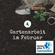 """Kleine Gartenschaufel, die in der Erde liegt und die Überschrift """"Gartenarbeit im Februar"""""""