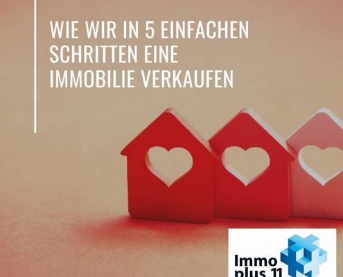 """3 kleine Häuser mit Herzen drinnen und der Überschrift """"Wie wir in 5 Schritten eine Immobilie verkaufen"""""""