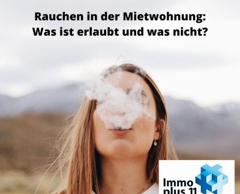 """Frau, die raucht mit der Überschrift """"Rauchen in der Mietwohnung: was ist erlaubt und was nicht?"""""""