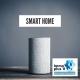 """Smarter Lautsprecher mit der Überschrift """"Smart Home"""""""
