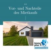 """Foto mit Haus und Überschrift """"Vor- und Nachteile des Mietkaufs"""""""